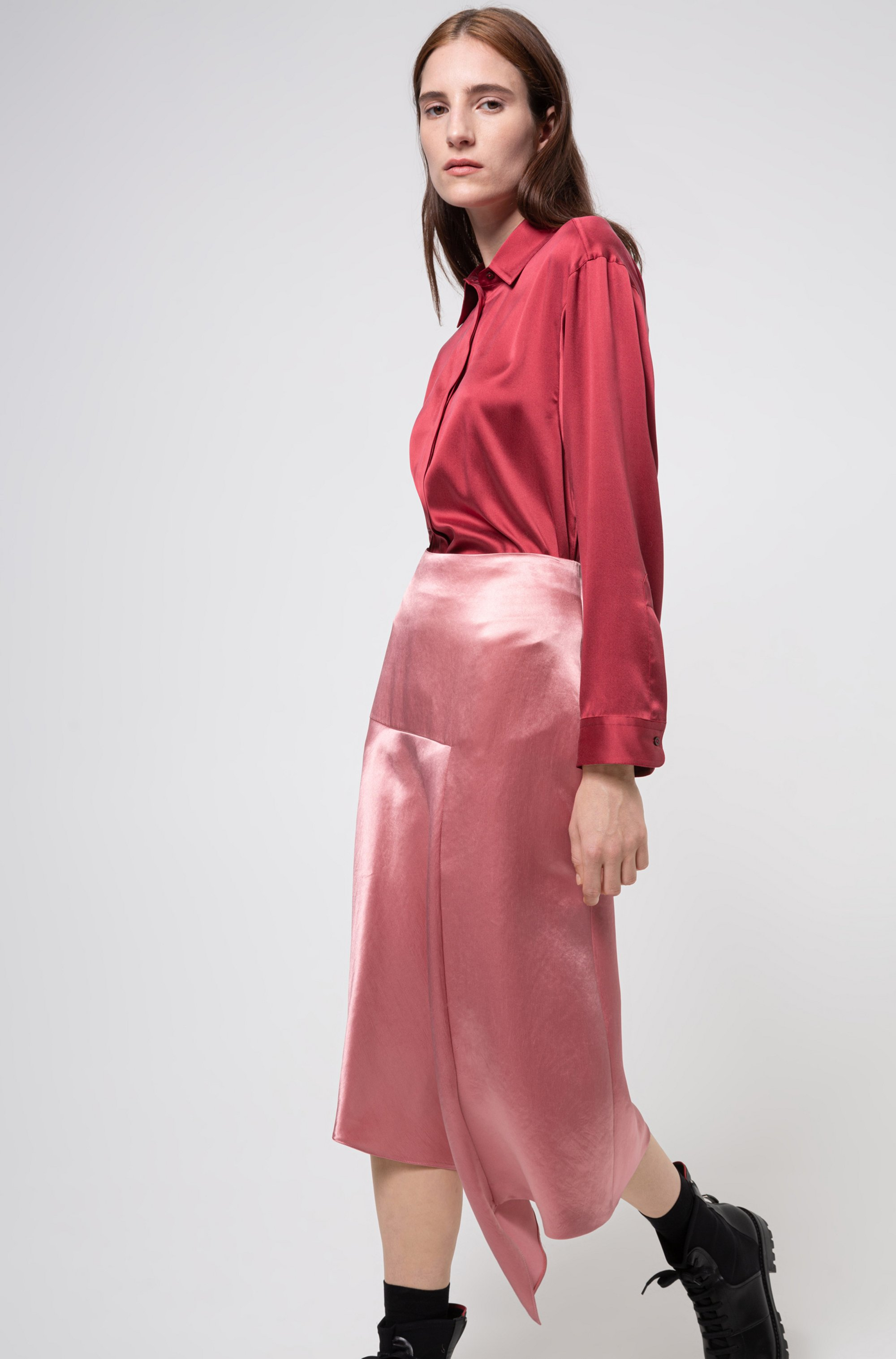 A-line skirt in lustrous fabric with asymmetric hem