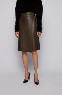 Nappa-leather wrap skirt with D-ring detail, Light Green
