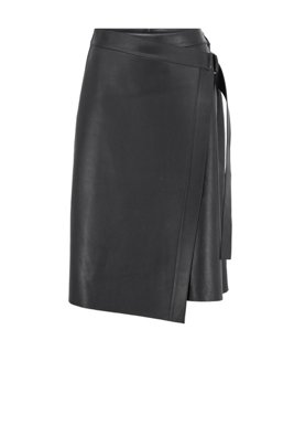 Nappa-leather wrap skirt with D-ring detail, Light Blue
