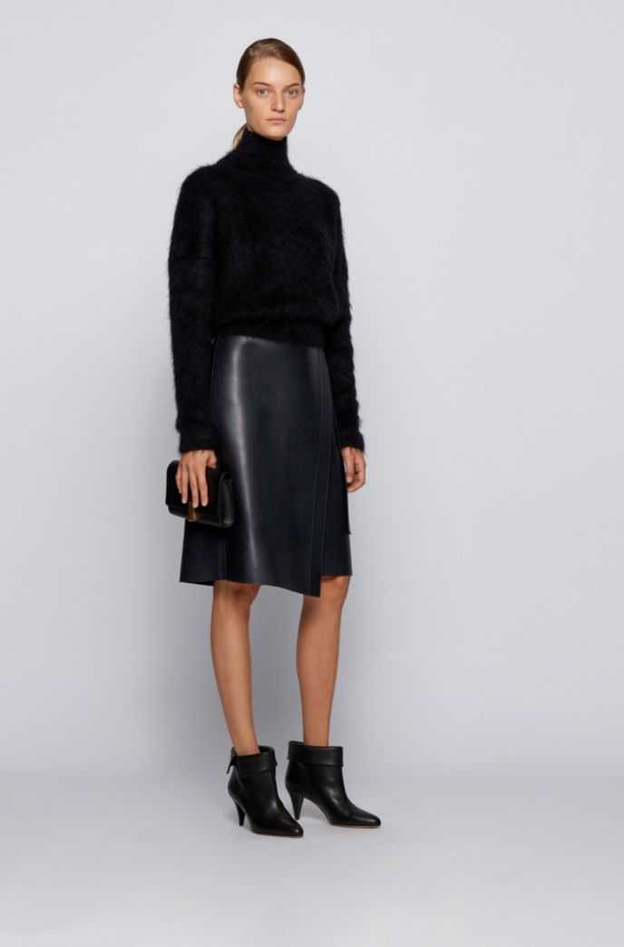 Nappa-leather wrap skirt with D-ring detail