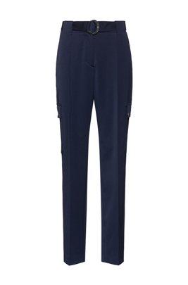 Tapered-fit broek met riemdetail en cargozakken, Lichtblauw