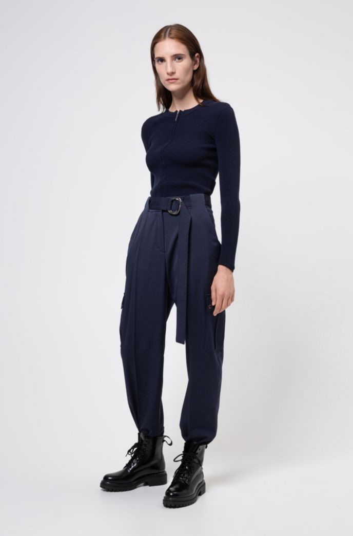 Tapered-fit trousers with belt detail and cargo pockets