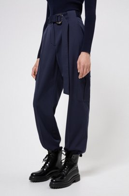 Tapered-fit trousers with belt detail and cargo pockets, Light Blue
