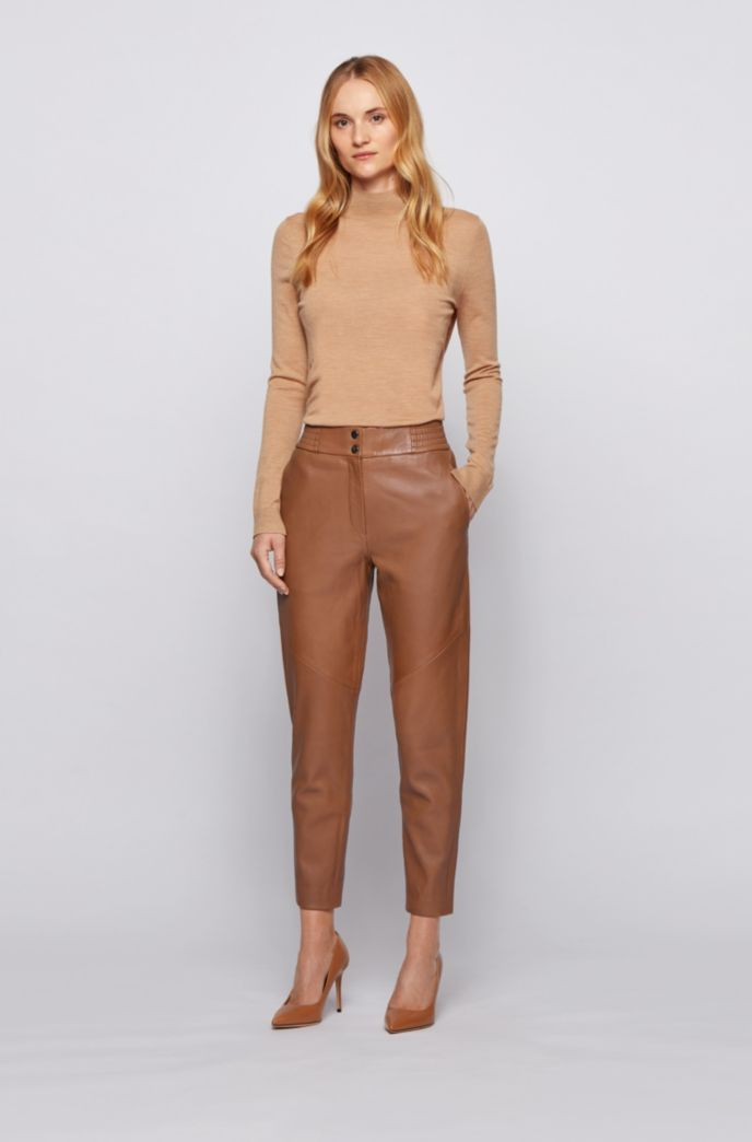 Regular-fit cropped trousers in plongé leather