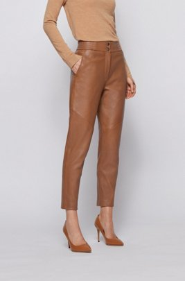 Regular-fit cropped trousers in plongé leather, Light Brown