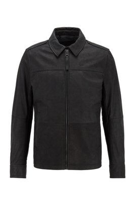 Goat-leather jacket with denim-effect lining, Black