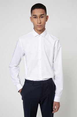 Extra-slim-fit shirt in easy-iron cotton poplin, White