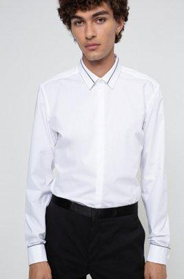 Camisa slim fit en popelín de algodón de planchado fácil, Blanco