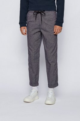 Tapered-fit trousers in a melange cotton blend, Dark Grey