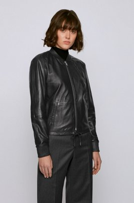 Leather jacket with elasticated hem and stand collar, Black