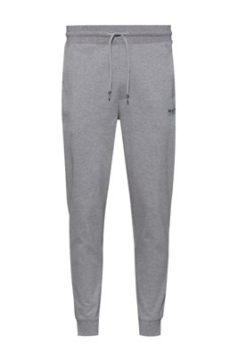 Cuffed jogging trousers in cotton with new-season logo, Silver