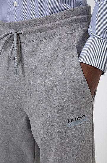 新季徽标棉质翻边慢跑裤,  047_银灰色