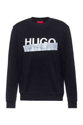 Interlock-cotton sweatshirt with new-season logo, Black