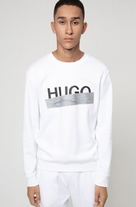 Interlock-cotton sweatshirt with new-season logo, White