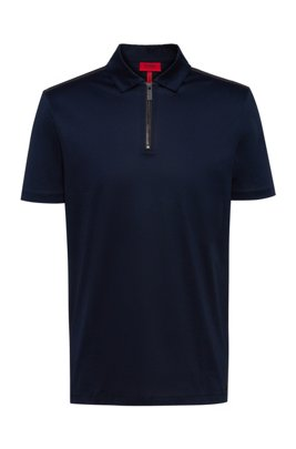 Poloshirt aus merzerisierter Baumwolle mit Reißverschluss am Kragen, Dunkelblau