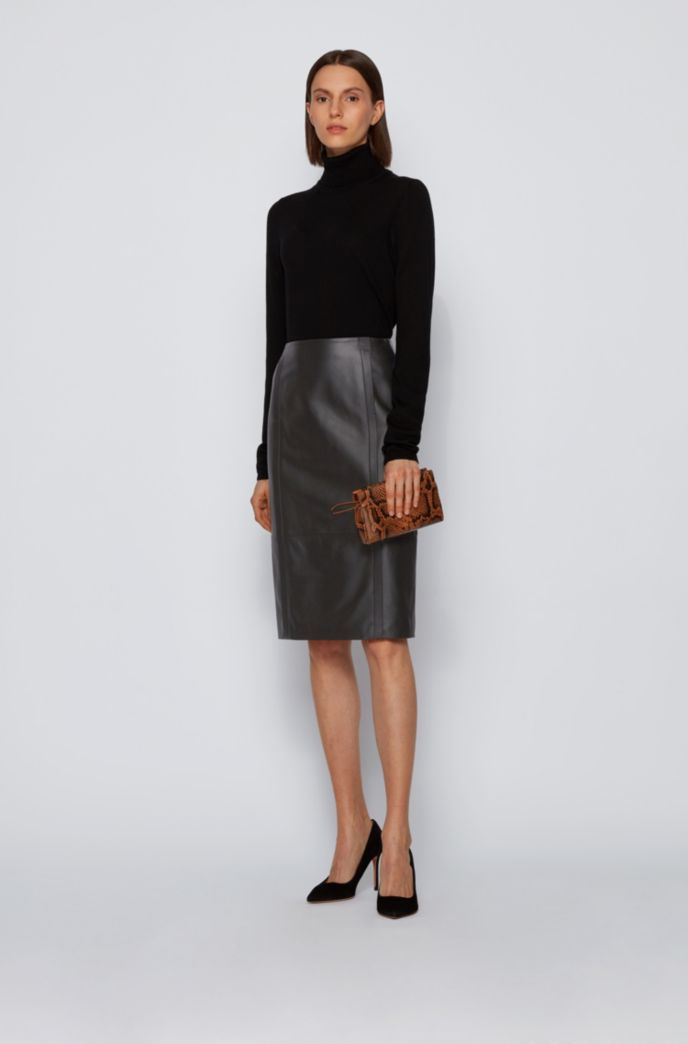 Leather pencil skirt with feature seaming and concealed zip