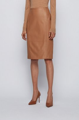 Leather pencil skirt with feature seaming and concealed zip, Light Brown