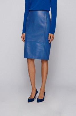Leather pencil skirt with feature seaming and concealed zip, Light Blue