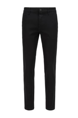 Extra-slim-fit trousers in two-way stretch cotton, Black