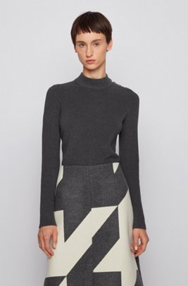 Shoulder-button sweater in cotton with silk, Grey