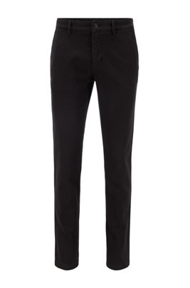 Garment-dyed slim-fit trousers in structured stretch cotton, Black