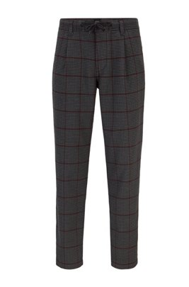 Tapered-fit trousers in checked fabric, Grey Patterned
