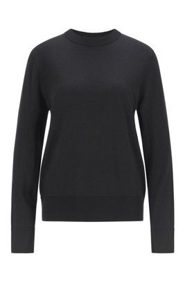 Relaxed-fit cotton-blend sweater with silk and cashmere, Black