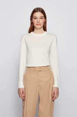 Relaxed-fit cotton-blend sweater with silk and cashmere, White