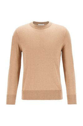 Relaxed-fit cotton-blend sweater with silk and cashmere, Beige