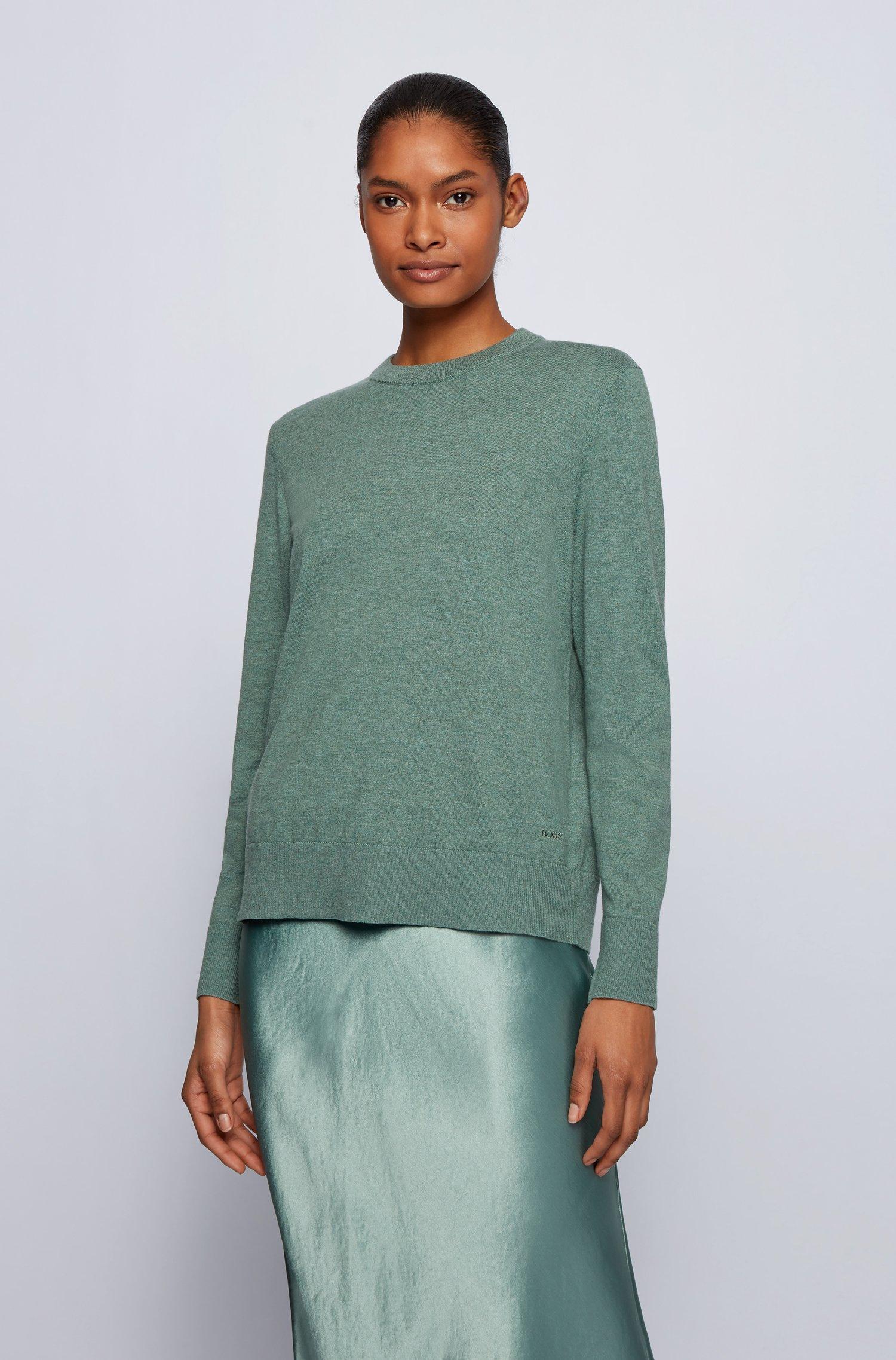 Relaxed-Fit Pullover aus Baumwoll-Mix mit Seide und Kaschmir, Hellgrün