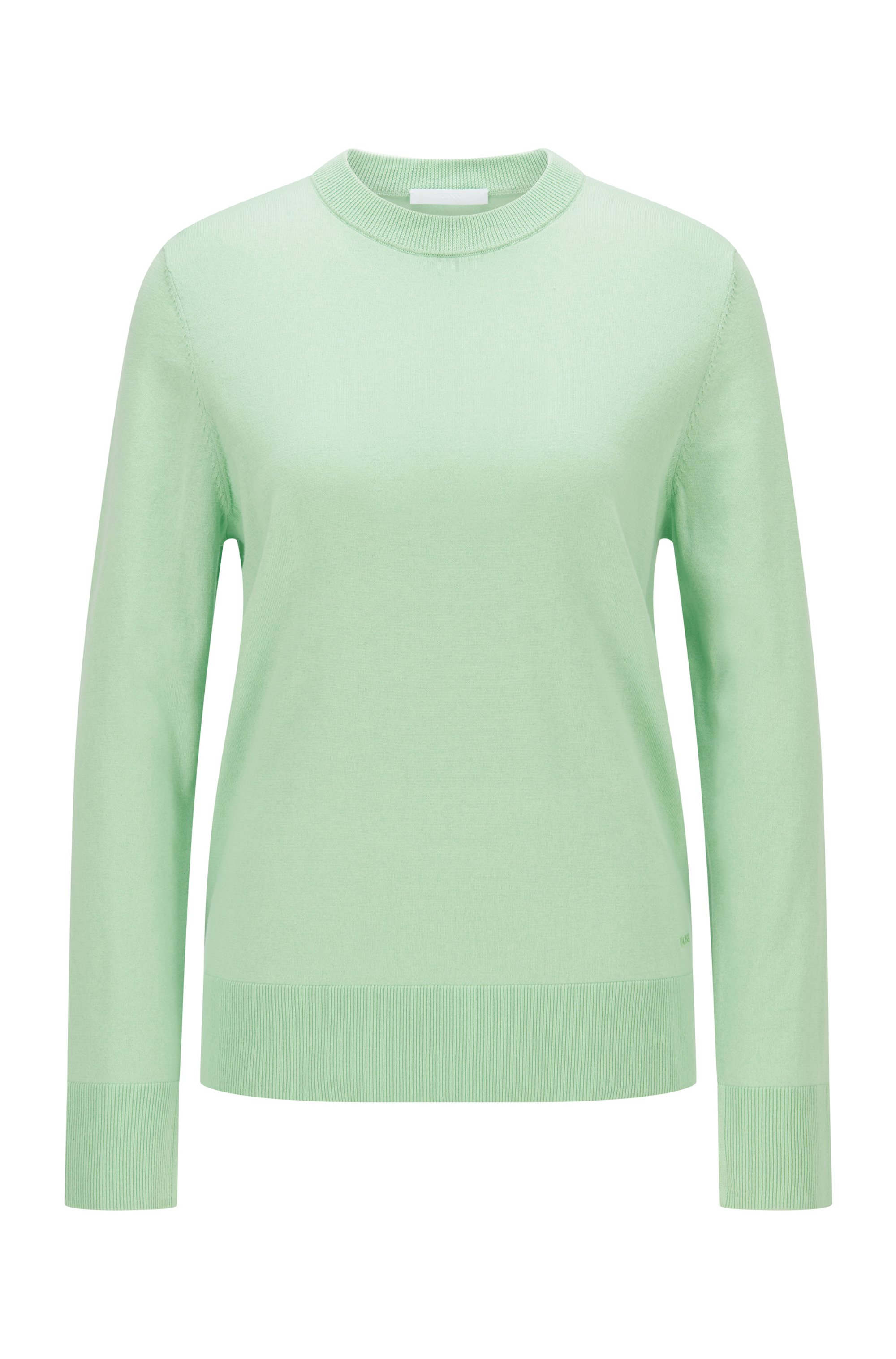 Relaxed-fit cotton-blend sweater with silk and cashmere, Light Green
