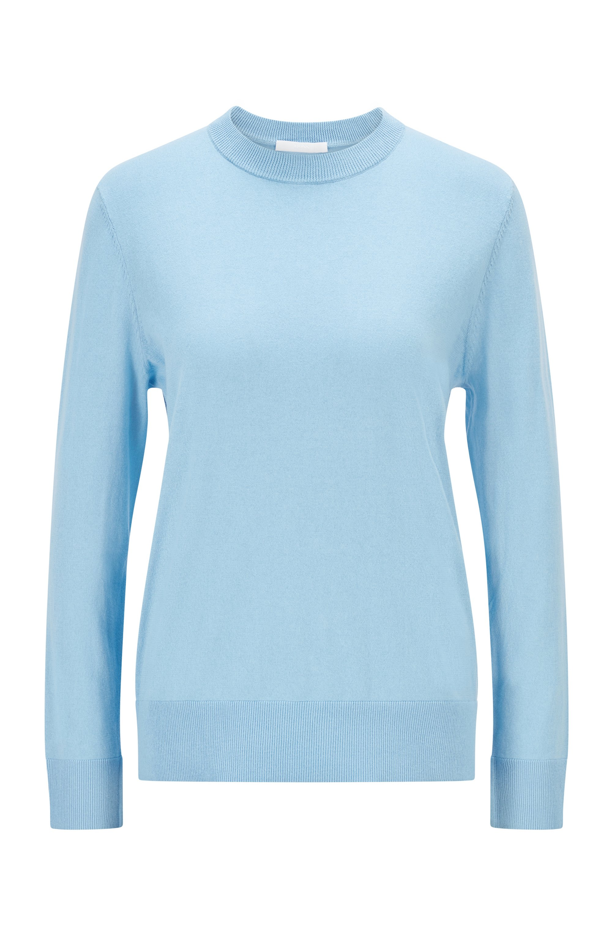 Relaxed-fit cotton-blend sweater with silk and cashmere, Light Blue