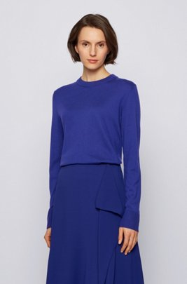 Relaxed-fit cotton-blend sweater with silk and cashmere, Dark Purple