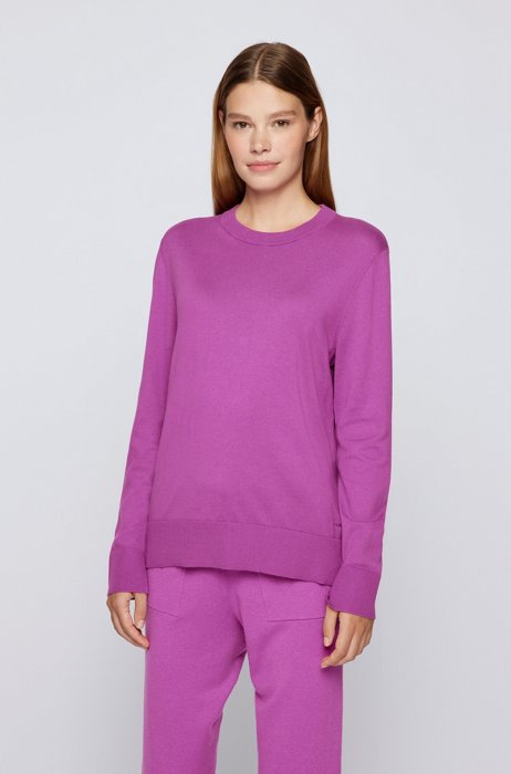 Relaxed-fit cotton-blend sweater with silk and cashmere, Purple