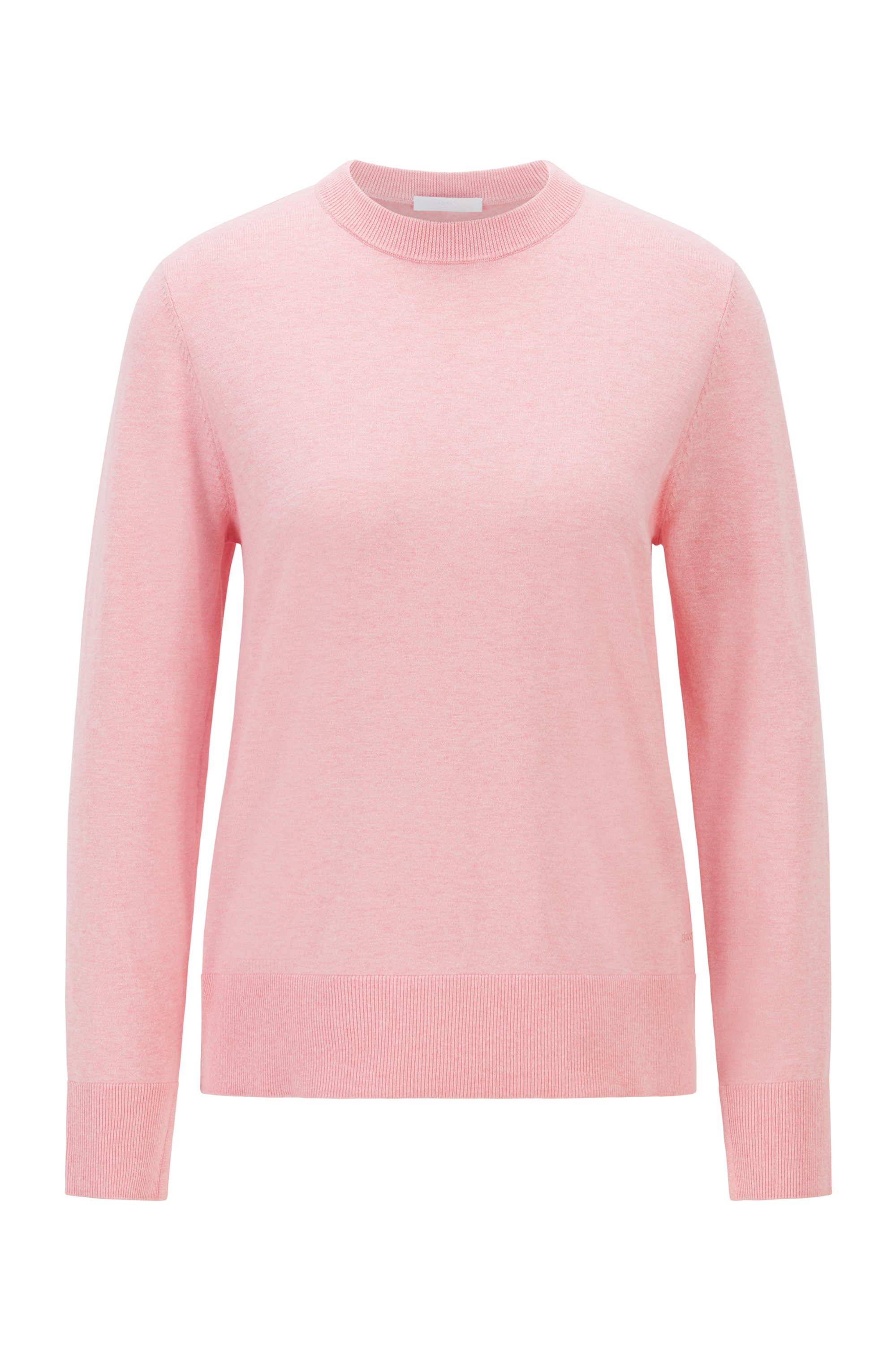 Relaxed-fit cotton-blend sweater with silk and cashmere, Pink