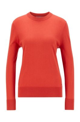 Relaxed-fit cotton-blend sweater with silk and cashmere, Dark Orange