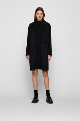 Rollneck sweater dress in cotton and virgin wool, Black