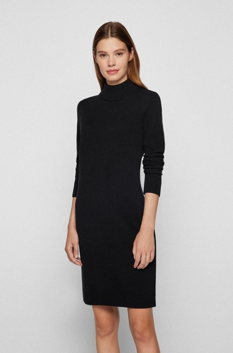 Mock-neck sweater dress in cotton and virgin wool, Black
