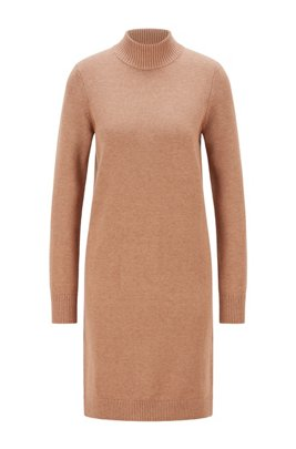 Rollneck sweater dress in cotton and virgin wool, Light Brown