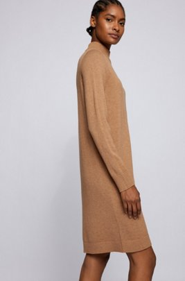 Vestido de punto con cuello vuelto en algodón y lana virgen, Marrón claro