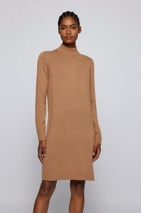 Mock-neck sweater dress in cotton and virgin wool, Light Brown
