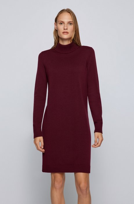 Mock-neck sweater dress in cotton and virgin wool, Dark Red