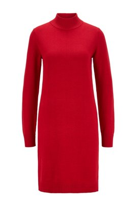 Rollneck sweater dress in cotton and virgin wool, Red