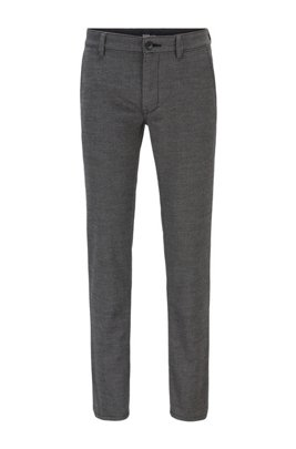 Slim-fit chinos in a brushed stretch-cotton blend, Grey