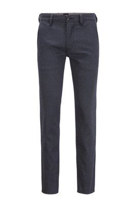 Slim-fit chinos in a brushed stretch-cotton blend, Turquoise