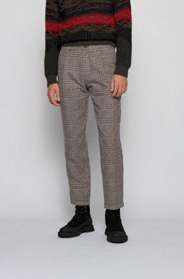 Pantalon Relaxed Fit en tissu à carreaux, plissé sur le devant, Marron foncé
