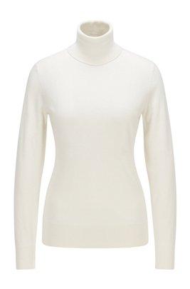 Slim-fit trui van katoen met zijde en kasjmier, Wit