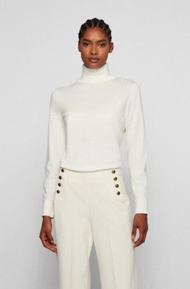 Slim-fit sweater in cotton with silk and cashmere, White