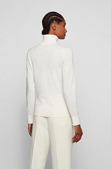 棉、真丝加羊绒修身高翻领毛衣,  118_Open White