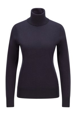 Slim-fit sweater in cotton with silk and cashmere, Light Blue